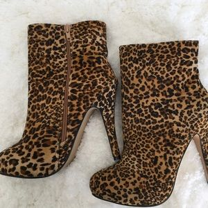 Body Central Shoes - Leopard print high heel boots Body Central